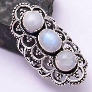 Rainbow Moonstone Ethnic Handmade Three Stone Ring Jewelry US Size-9 AR 42478