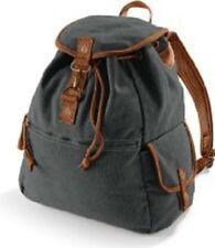 Vintage Canvas Backpack Stofftasche Schulter Rucksack Quadra black QD612