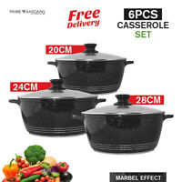 6Pc Aluminium Ceramic Coated Casserole Stockpot Cooking Pot Pan Set With Lid