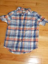 NWT - Childrens Place short sleeved plaid button down collared shirt - 5/6 boys