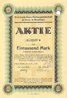 Stahlwerk Oese AG Hemer hist. Aktie 1923 Iserlohn Menden Westfalen Falk + Hanau