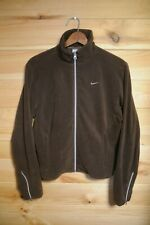 Women's NIKE Velour Fleece Brown Zip Up Track JAcket Large 14/16