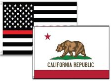 2x3 Usa Fire Thin Red Line California State 2 Pack Flag Wholesale Combo 2'x3'