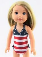 "American Flag Bathing Suit Fits Wellie Wishers 14.5"" American Girl Clothes"