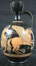 Mid 19th C Pratt? Porcelain Greek Neoclassical Lady Chariot Winged Horse Pitcher