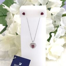New SWAROVSKI Sparkling Pink, Red Crystal Heart Necklace Stud Earring Gift Set
