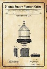 US brevet cage à oiseaux bird cage 1876 Tôle Bouclier Bouclier Metal Tin Sign 20 x 30 cm