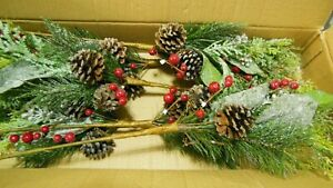 """LOT OF 6 CHRISTMAS PINE CONE & HOLLY BERRY BRANCH WITH SNOW  DECOR 27"""" EACH"""