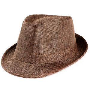 Unisex Men Women Summer Trilby Gangster Cap Beach Sun Straw Hat Band Sunhat NEW
