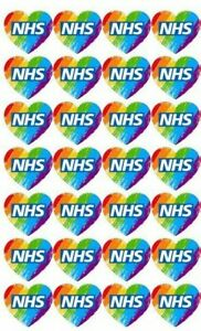 PRE CUT Rainbow HEART NHS logo Edible Cupcake Toppers- Wafer/Icing