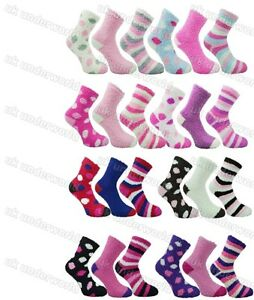 Ladies Fluffy Socks 3 Pairs Bed Slippers Womens Adults Luxuriously Soft & Cosy