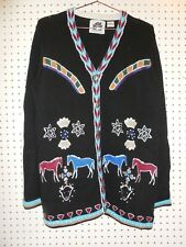 Storybook Knits Beaded Embroidered  Native American Buffalo Night Cardigan M