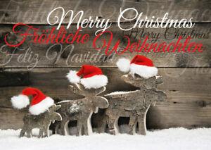 WEIHNACHTS-ELCHE: lustige Weihnachtskarten im Set  5, 10, 15, 20, 30, 50,100 St.