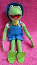 "Hasbro Kid Dimension Muppets Farmer Kermit the Frog Overalls Plush 17"" 1993"
