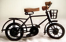 "Metal Black Bicycle Made from Scrap Rod & Wood Art Deco Sculpture - 11"" Long"