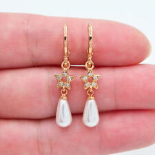 18K Yellow Gold Filled Women Clear Topaz White Teardrop Pearl Star Earrings