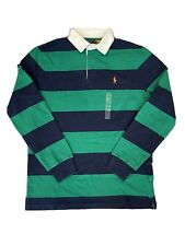 NWT POLO RALPH LAUREN Men's Classic Fit Iconic Striped Rugby Shirt Green/Navy