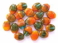 20 ORANGE / GREEN Czech glass oval beads 9x7mm (9-7ov-gc019)
