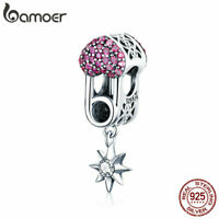 BAMOER Genuine S925 Sterling silver Charms Love clip Dangle With CZ Fit Bracelet