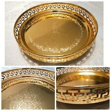Gold Plated Egypt Indian Round Gallery Tray Plate Paan Leaf Tea Tray Biscuit