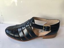Clarks hotel bustle navy genuine leather size 7 d flat womens shoes sandals