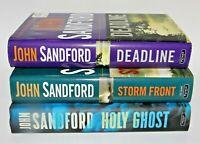 LOT OF 3 John Sandford HARDCOVER Holy Ghost Deadline Storm Front Books