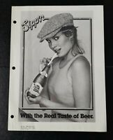 "1980s Pabst Blue Ribbon Beer Ad Slick ""Sippin with the Real Taste of Beer"""