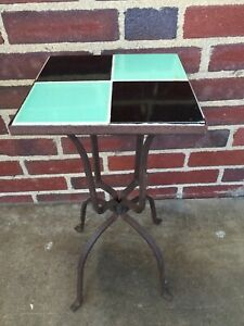 Vintage Wrought Iron and California Tile Top Cocktail Table Accent Table