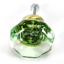 Glass Knobs Crystal, Kitchen Cabinet Drawer Pulls or Brass Handles ~ T30 ~ Set/4