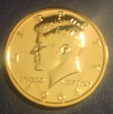 1 OZ 24K GOLD PLATED COPPER ROUND 1964 JOHN F KENNEDY HALF DOLLAR DESIGN