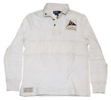 Polo Ralph Lauren Mens Sweatshirt Nautical Yaht Sailing Shirt White Beige Medium