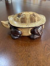 Carved Wooden Turtle Box with Removable Shell Top