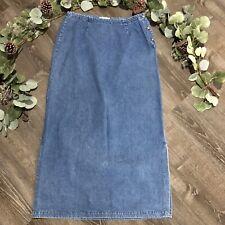Vintage 90s Eddie Bauer Denim Jean Skirt 14 Blue Maxi Straight Side Slit Modest