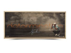"""Tiger Woods Signed Autographed 26X11 Bamboo Photo """"Determination"""" #/50 UDA"""