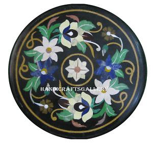 Black Marble Coffee Table Inlay Floral Semi Precious Handmade Art Decorate H2436