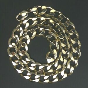 HEAVY  9 CT GOLD FLAT CURB LINK 53.5 CM CHAIN NECKLACE 129.5 GRAMS