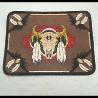 Southwest Native Amer Leather Painting Cow Skull Feathers Wall Hanging