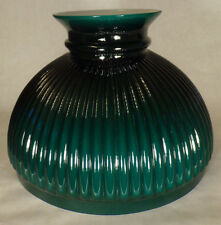 "10"" Green Over Opal Ribbed Oil Student Table Glass Lamp Shade Fits Aladdin #587"
