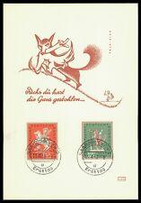 GERMANY SAAR MK 1958 HORSE FOX PFERD FUCHS CARTE MAXIMUM CARD MC CM bc06