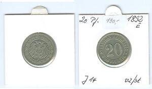 Kaiserreich  20 Pfennig 1892 E vorzüglich bis stempelglanz