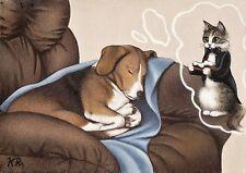 cat dog beagle chair bone aceo art print limited edition Sweet Doggie Dreams KR