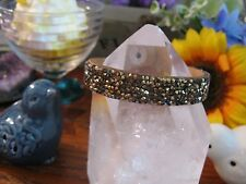 New Rustic Gold Austrian Crystal Taupe Leather Cuff Bracelet