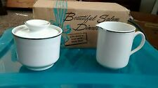 International Ironstone Silver Elegance Salem England Cream & Sugar Set w/ Box