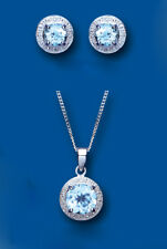 Blue Topaz and Diamond Pendant and Earrings Halo Set Solid Sterling Silver