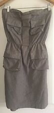 COOPER ST WOMENS SUNDRESS STRIPED GREY COTTON BLEND WORK PARTY SZ 10