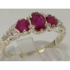 Ruby Natural Oval Three-Stone Fine Rings