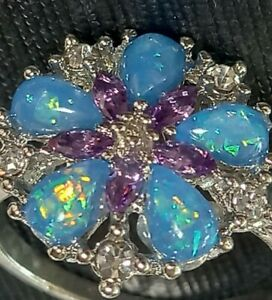 Sterling Silver Plated Cubic Zirconia Amethyst & Lab Opal Cluster Ring Size 9.5