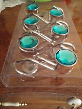 New In The Box, Set Of 12 Shower Curtain Hooks Silver Hooks With Aqua Circles