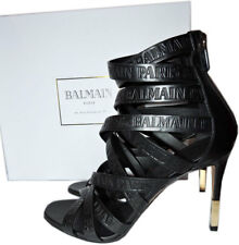 $1190 BALMAIN Charlotte Strappy Gladiator Leather Sandals Pumps Shoe 38 Booties