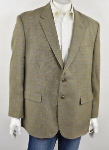RALPH LAUREN Beige & Olive Houndstooth Silk & Wool 2-Button Sport Coat 48R